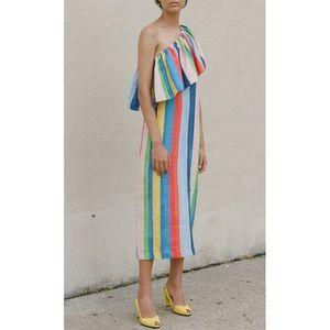 Mara Hoffman Rainbow Striped One Shoulder Dress